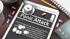 """Stock Illustration of Tablet with """"Panic Attack"""" on screen, stethoscope, pills and objects on woode"""