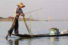 Burmese fishing technique Stock Photos