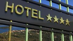 Metallic hotel sign board with four golden stars and island with seascape as  - stock illustration