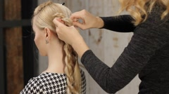 Beautiful blonde hair make styling. Stock Footage