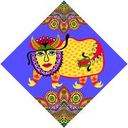 unusual animal, folk illustration in rhombus composition - stock illustration