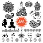 Hand Drawn  India Design Elements Set Stock Illustration