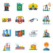 Oil industry icons set - stock illustration