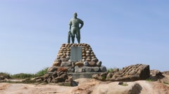 Statue of Lian Tianzhen at Yehliu Geological Park, pan shot Stock Footage