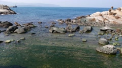 Calm sea water over rocky shore at north side of Yehliu Geopark cape. Stock Footage