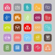 Retirement community line flat icons Stock Illustration
