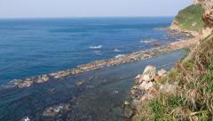 Fallen sink ridge view from cliff, bird's eye height rocky shore scenery Stock Footage