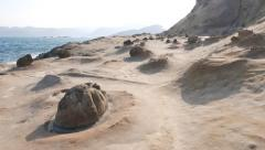 Stock Video Footage of POV walk forward at otherworldly geological formations, Yehliu Geopark
