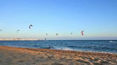 Many Kitesurfers in Spain Stock Footage