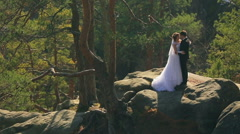 Young bride and groom stylish hugging standing on the mountain in a forest Stock Footage