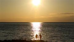 Friends Holding Hands Silhouette Sunset Stock Footage