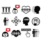 Human Solidarity icons, people helping each other design - stock illustration
