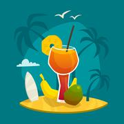 Stock Illustration of Tropical Juice Concept