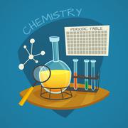 Chemical Laboratory Cartoon Icons Set - stock illustration