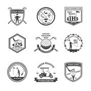 Golf Black White Emblems Set Stock Illustration