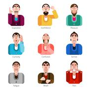 Emotion icons set - stock illustration