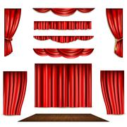 Red Curtain And Stage Icons Set - stock illustration