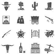 Cowboy Icons Set Piirros