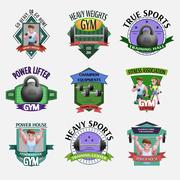 Heavy Weights Fitness Emblems Set Stock Illustration
