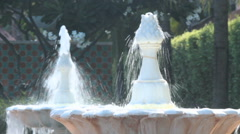 Water stream from decorative fountain in the garden, HD vdo. Stock Footage