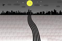 Cityscape of countryside in night time Stock Illustration