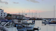 KYRENIA, NORTHEN CYPRUS -  yachts and motorboats stay at Stock Footage
