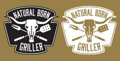 Stock Illustration of Natural Born Griller barbecue vector image with cow skull.