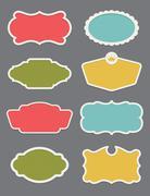 Set of 8 frame or label design elements - stock illustration