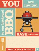 Backyard Barbecue Vector Invitation - stock illustration