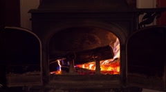 Wood Burning in Fireplace - stock footage