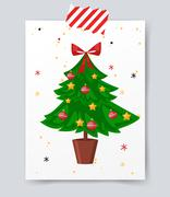Christmas tree flat icons set Stock Illustration