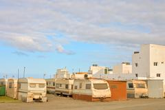 Caravan Park in the Desert - stock photo