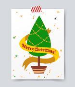 Christmas tree flat icons set - stock illustration