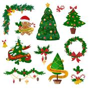 Christmas tree flat icons set - stock illustration