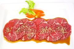 High grade sliced Hida wagyu beef isolated on white background - stock photo