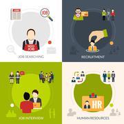 Recruitment Flat Set Stock Illustration