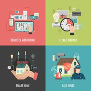 Smart home 4 flat icons square - stock illustration