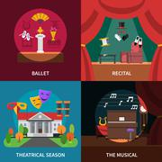 Theatre Concept Icons Set Stock Illustration