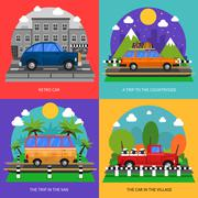 Cars Concept Icons Set - stock illustration