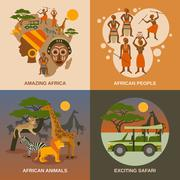Africa Concept Icons Set - stock illustration