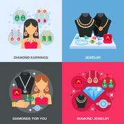 Jewelry Concept Icons Set - stock illustration
