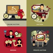 Auction Concept Icons Set - stock illustration