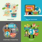 Charity Concept Icons Set - stock illustration