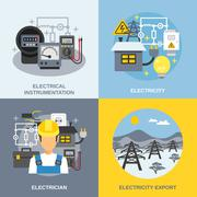 Electricity Concept Icons Set - stock illustration