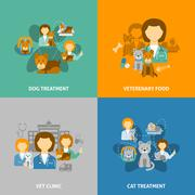 Veterinary clinic 4 flat icons square - stock illustration
