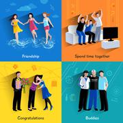 Friends buddies 4 flat icons square Stock Illustration