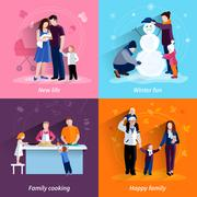 Parenthood 4 flat icons square set Stock Illustration