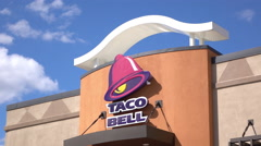 Taco Bell Restaurant sign on sunny day 4k Stock Footage