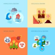 Natural disaster 4 flat icons square - stock illustration