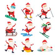 Cartoon extreme Santa winter sport illustration Stock Illustration